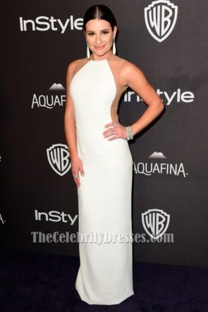 Lea Michele weißes Abendkleid 73. Jährliche Golden Globe Awards Post-Party Kleider