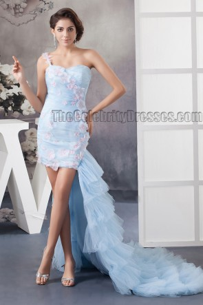 Light Sky Blue One Shoulder High Low Prom Gown Party Dress
