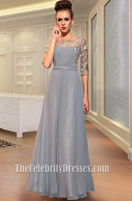 Long Silver Chiffon Beaded Prom Dresses Formal Gown