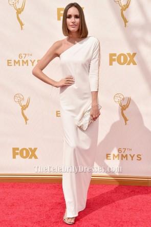 Louise Roe weiß ein Ärmel Abendkleid 67. Emmy Awards Roter Teppich.