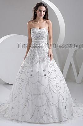 Luxury Strapless Hand Made Beaded A-Line Sweep Brush Train Wedding Dress