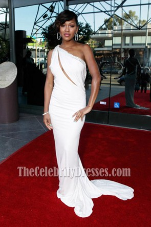 Meagan Good Sexy White Evening Dress NAACP Theater Awards Red Carpet