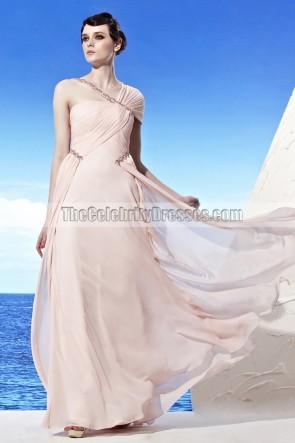 New Design Asymmetric Neckline Beaded Formal Prom Dresses