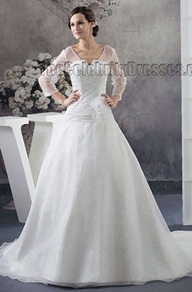 New Style A-Line Long Sleeve Chapel Train Wedding Dresses
