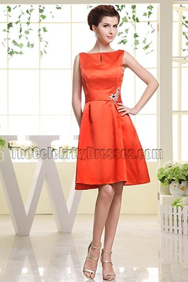 A-Line Orange Cocktail Dress Party Homecoming Dresses