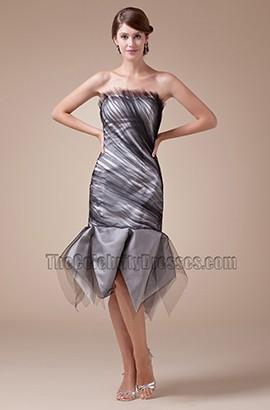 Black Tulle Strapless Tea Length Graduation Cocktail Dress