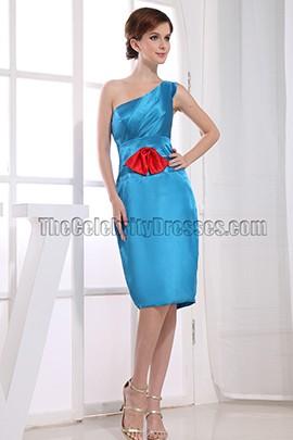 Blue One Shoulder Knee-Length Cocktail Dress Bridemaid Dresses
