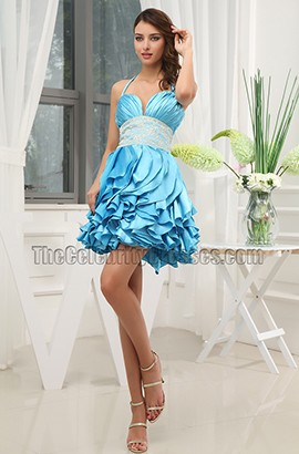 Gorgeous Blue Beaded Mini Party Homecoming Dresses