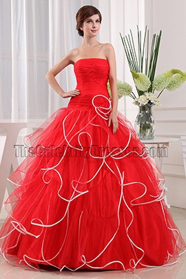 Glamorous Red Strapless Ball Gown Quinceanera Dresses