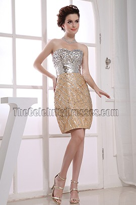 New Style Strapless Beaded Cocktail Dress Party Dresses