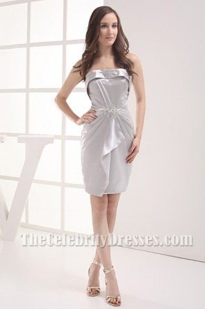 Chic Silver Strapless Short Party Cocktail Dresses