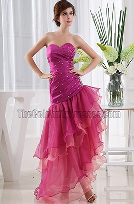Asymmetric Strapless Sweetheart Prom Dress Evening Gown