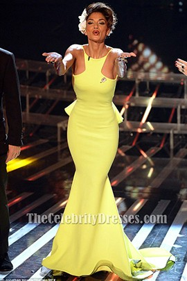 Nicole Scherzinger Yellow Backless Mermaid Prom Gown Evening Dress