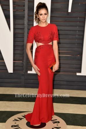Nina Dobrev Rot Gesticktes Abendkleid Vanity Fair Oscar Party 20155 TCD6202