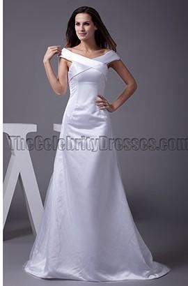 Elegant Off-the-Shoulder Chapel Train A-Line Wedding Dresses