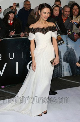 Olga Kurylenko White Prom Dress 'Oblivion' London Premiere