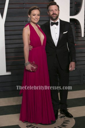 Olivia Wilde Fuchsia Halfter Abendkleid 2016 Vanity Fair Oscar Party Kleid
