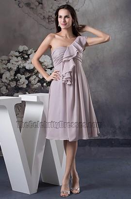 One Shoulder Chiffon Knee Length Cocktail Bridesmaid Dresses