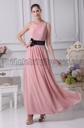 One Shoulder Floor Length Bridesmaid Prom Dresses