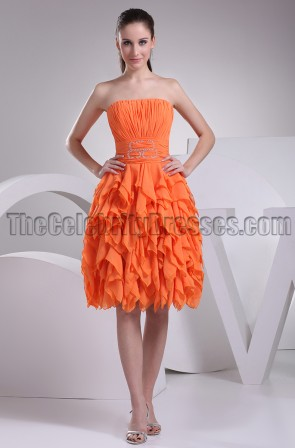 Orange Strapless A-Line Cocktail Bridesmaid Party Dresses