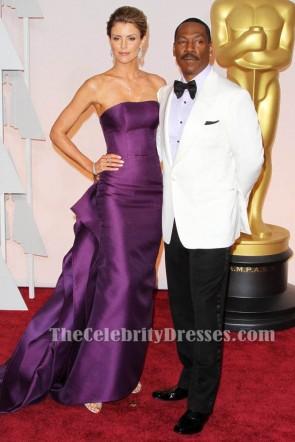 Paige Metzger lila trägerlosen formalen Kleid Vanity Fair Oscar Party 2015