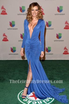 Patricia Zavala sexy blauen Langarm Abendkleid 2015 Latin Grammy Awards