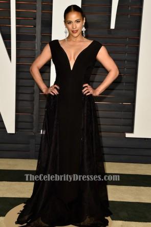 Paula Patton schwarzes Abendkleid Vanity Fair Oscar Party 2015