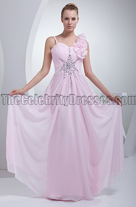 Pearl Pink Chiffon Beaded Bridesmaid Prom Dresses