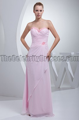 Pearl Pink Strapless Sweetheart Prom Bridesmaid Dresses