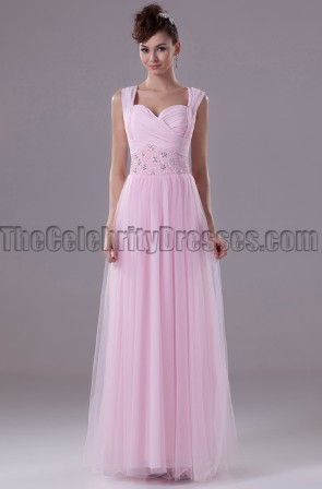 Pearl Pink Tulle Prom Gown Evening Bridesmaid Dresses