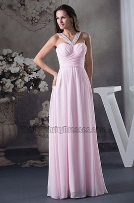 Pink Chiffon A-Line Full Length Bridesmaid Dress Prom Gown