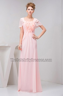 Pink Chiffon Floor Length Prom Bridesmaid Dress With Flowers