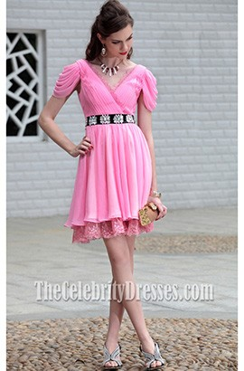 Pink Off-The-Shoulder Party Homecoming Graduation Dresses