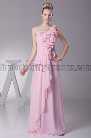 Pink One Shoulder Bridesmaid Dresses Prom Evening Gowns