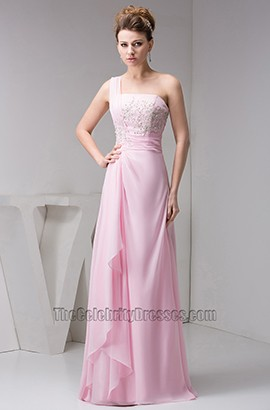 Pink One Shoulder Chiffon Embroideried Prom Evening Dresses