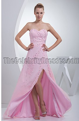 Pink Strapless Beaded Prom Gown Evening Formal Dress
