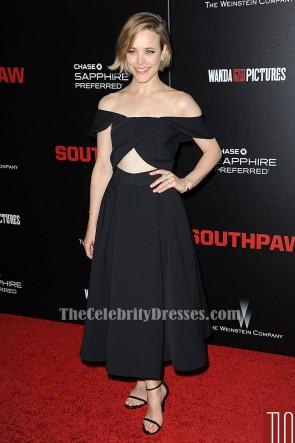 Rachel McAdams Schwarzes off-Schulter-Cocktail-Abendkleid 'Southpaw' New York Premiere TCD6230