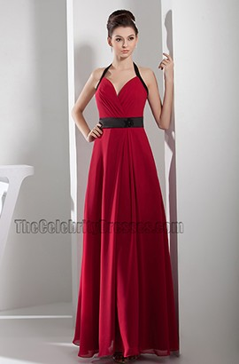 Red And Black Chiffon Halter A-Line Prom Dress Evening Gown