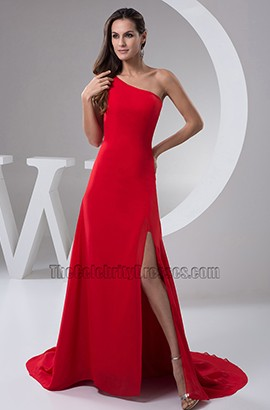 Red One Shoulder Chiffon Formal Dress Prom Gown