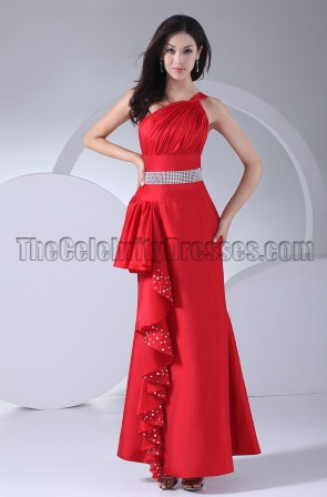 Floor Length Red One Shoulder Prom Gown Evening Dress