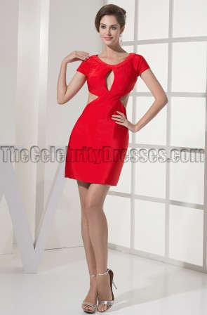 Chic Red Short Mini Cut Out Party Homecoming Dresses