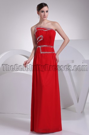 Red Strapless Chiffon Evening Gown Prom Dresses