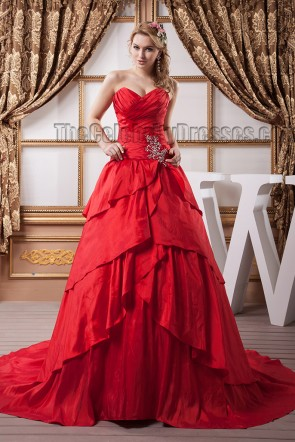 Red Strapless Sweetheart A-Line Formal Gown Evening Dresses