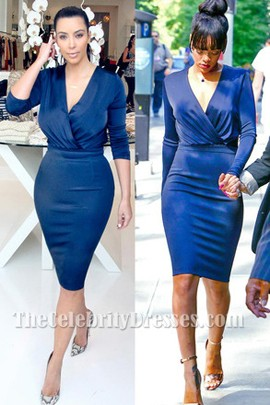Rihanna And Kim Kardashian Navy Blue Long Sleeve Knee Length Dress