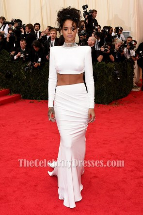 Rihanna White Evening Dress 2014 Met Gala Red Carpet