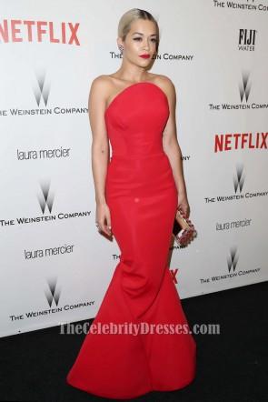 Rita Ora Red Strapless Mermaid Evening Dress 2015 Golden Globes Party