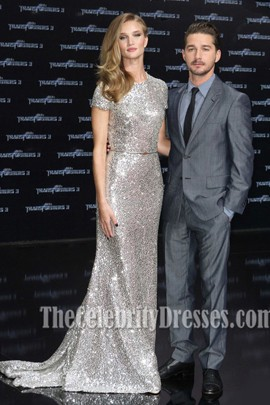 Rosie Huntington-Whiteley Silver Prom Dress Transformers Dark of the Moon Premiere