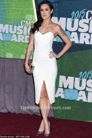 Rumer Willis Weißes trägerloses Cocktailkleid 2015 CMT Music Awards TCD6139