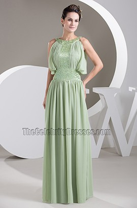 Sage Chiffon Floor Length Prom Gown Bridesmaid Evening Dresses