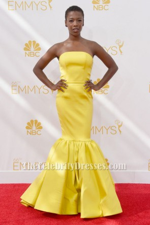 Samira Wiley Gelbe Meerjungfrau formale Kleid 66. jährliche Emmy Awards 2014 Celebrity Gowns TCD6116